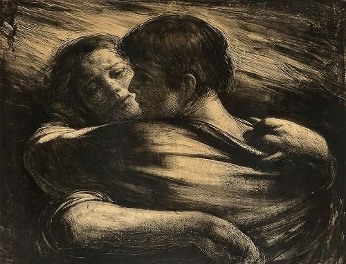 """Perhaps we are in this world to search for love, find it and lose it, again and again. With each love, we are born anew, and with each love that ends we collect a new wound. I am covered with proud scars.""  Isabel Allende  Odd Nerdrum - Kjærlighetspar  https://www.facebook.com/salimslife/posts/1088935757783719"
