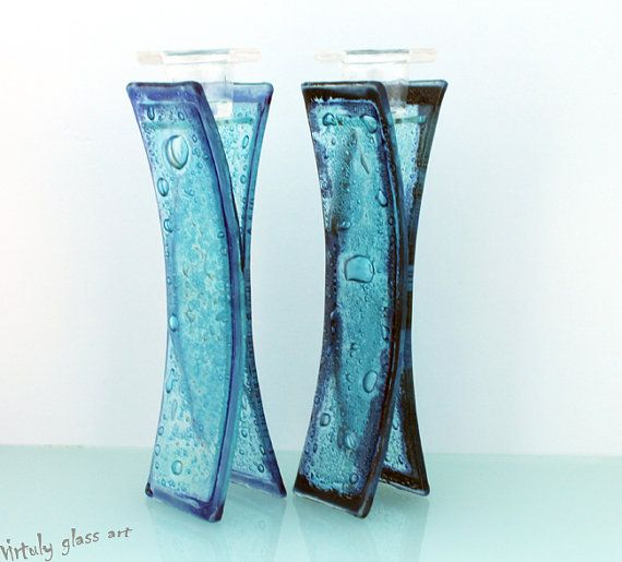 Blue fused glass candlesticks - I love all the  bubbles!  I wonder how much work it would take...hmmm...