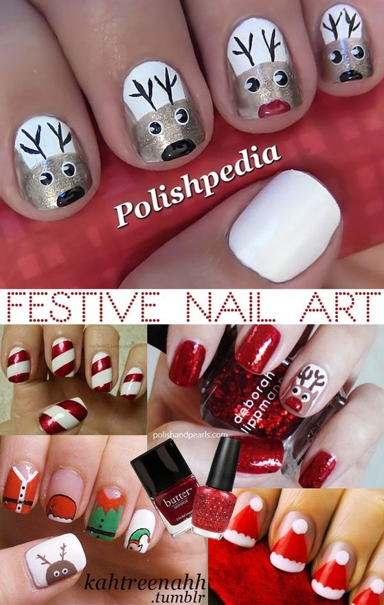 Christmas nail art - Santa - Reindeers