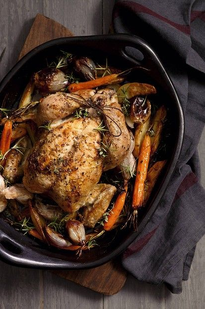 Jill Dupleix's roast chicken and vegetables. Photo by Marina Oliphant. Recipe: http://www.smh.com.au/lifestyle/cuisine/poultry/recipe/a-great-roast-chicken-20120709-21qfi.html