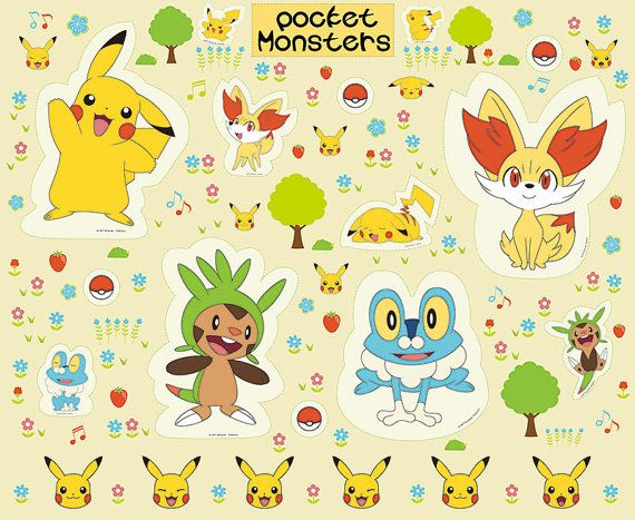 Pocket Monster Pokemon Pikachu Character Fabric by SewingdoingShop