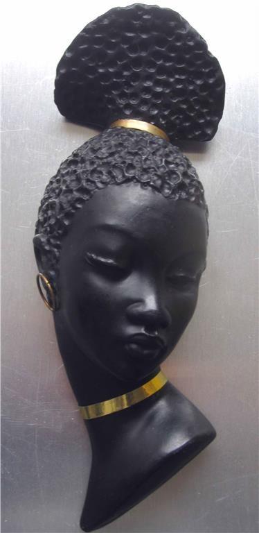 Annons på Tradera: Fint RETRO skulpturerat kvinnoansikte Afro 50-talet