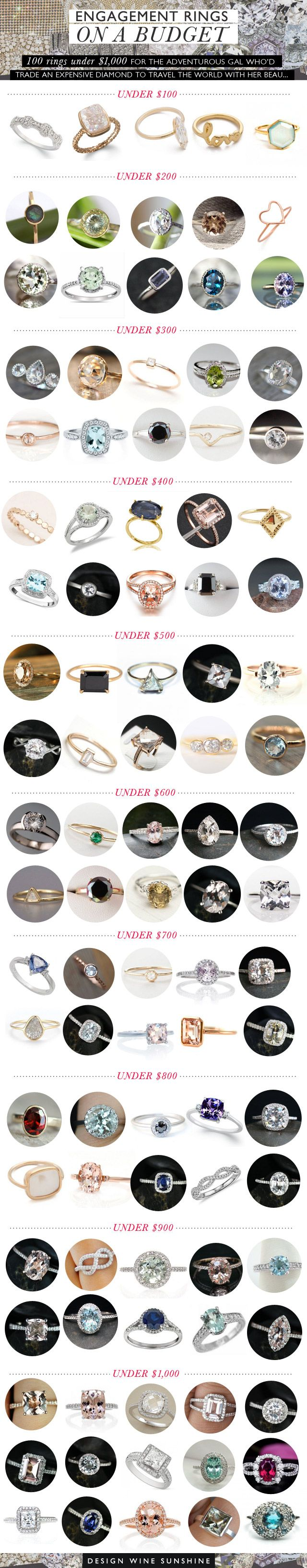 100 Beautiful Engagement Rings on a Happy Budget, via Design Wine Sunshine #engagement #ring #affordable