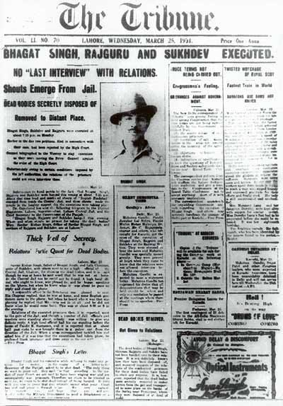 The Tribune headline announcing the execution of Bhagat Singh, Sukhdev and Rajguru in 1931