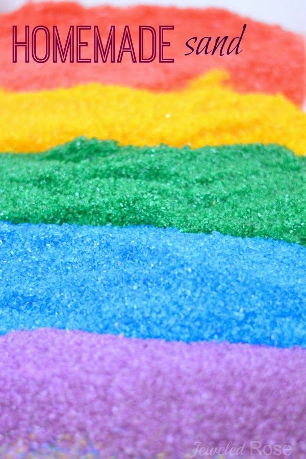 Colored Play Sand Materials : 1.Epsom salt or another preferred salt variety 2.Food coloring or liquid watercolors 3.Large zip seal bags