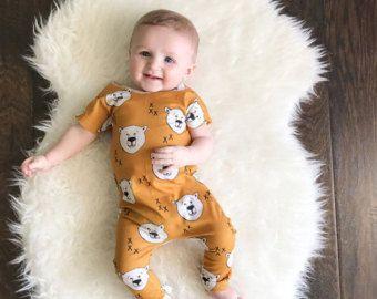 Senape orso - un unico pezzo vestito - genere neutro - tutina - Toddler Romper - orso tutina - pagliaccetto bambino abbigliamento
