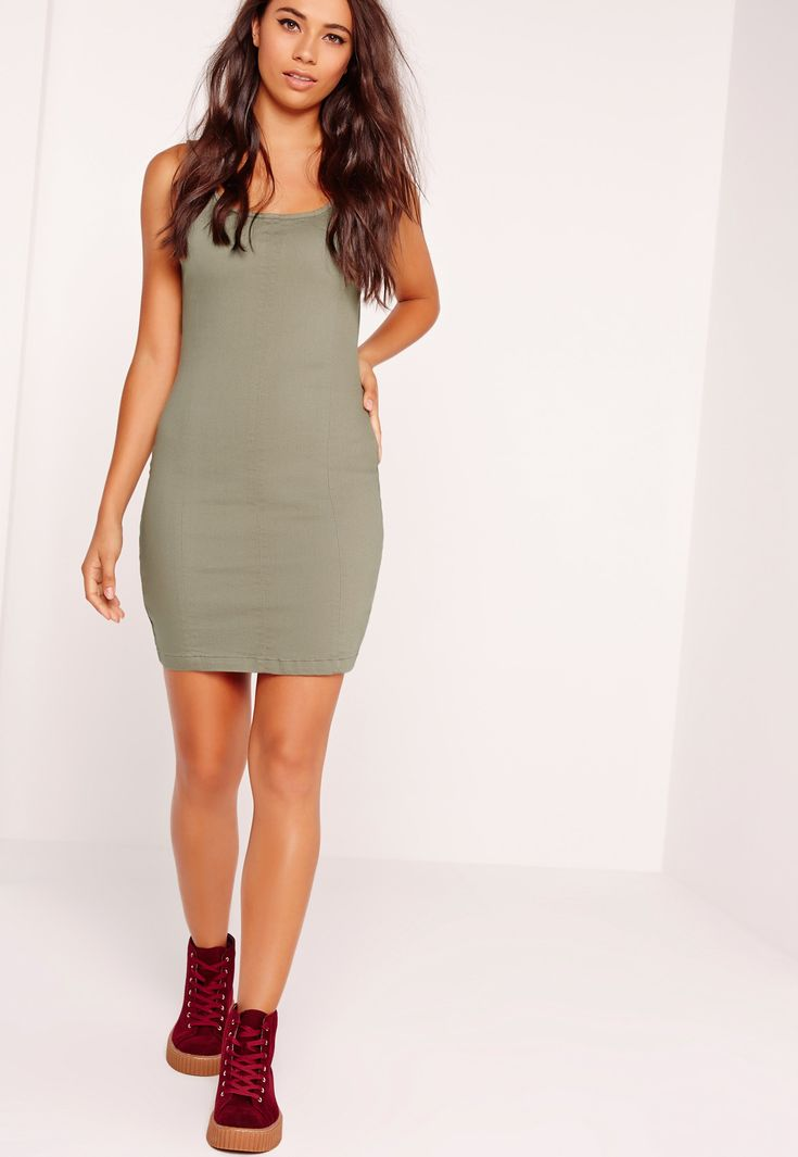 Missguided Clothing Denims | Missguided Seam Detail Fitted Denim Dress Soft Khaki in ...
