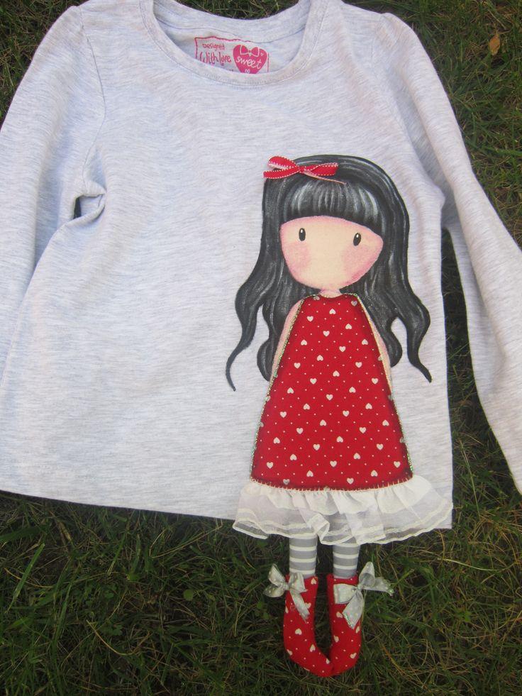 Boneca em pintura em tecido com patchcolagem
