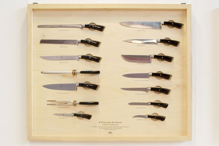 Berti knives: traditional models like the knife used for the steak and cheese, for roast and cured meat, for bread, fish and vegetable, the all purpose knife (Pontormo), the carving fork, the meat shears, the knife sharper, the vegetable shears, the masher and last but not least the chef knife.