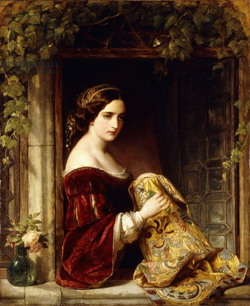 Waiting, 1860 by Sir Frank Dicksee. English Pre-Raphaelite Painter (1853 - 1928)