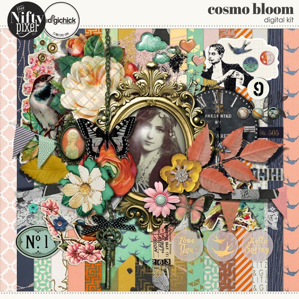 Cosmo Bloom Digital Kit by The Nifty Pixel Creating a kit that translates easily between Autumn and Spring so everyone can use it all year round was the challenge and well... gotta say I think we nailed it!