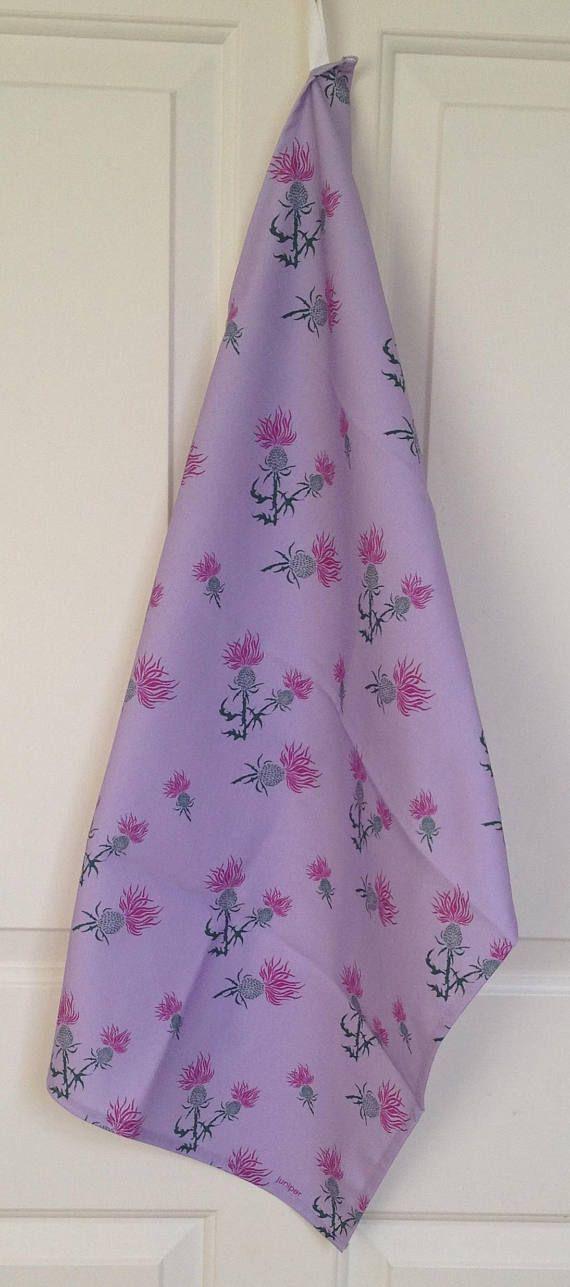Purple thistle tea towel  purple thistle print  purple