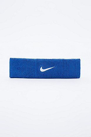 Nike Blaues Stirnband mit Swoosh-Logo - Urban Outfitters
