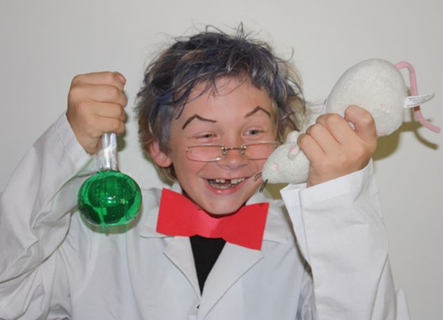 How to Make a Mad Scientist Halloween Costume: The mad scientist costume typically involves a lab coat and wild hair. A few props can add more science and more madness.
