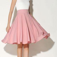 High Waist Midi Skater Skirt - Black/White/Green/Pink 2