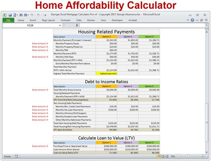 Mortgage Calculator Home Affordability Calculator To Determine How