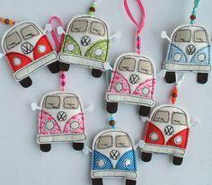 VW Camper Van. Textile Volkswagen Hippy Bus Decoration. VW Kombi Fabric Hippie Camper Ornament. Split Screen. Kombi Van.