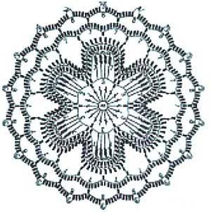 цветочный мотив крючком схема
