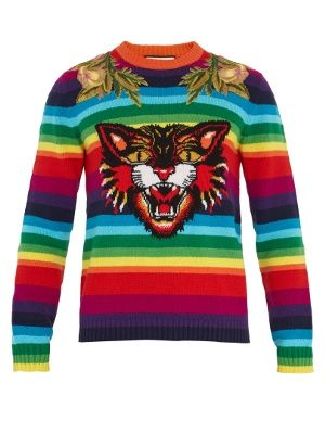 34721e669d4 Angry Cat-intarsia striped wool sweater