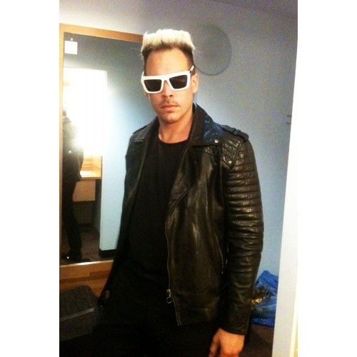 Luke Steele from Empire of the Sun Styling| Mens Black Leather Biker Motorcyle Jacket from Sydney| Black Moto Quilted Quilt Leather Biker Coat Jacket - Ventura | by VIPARO