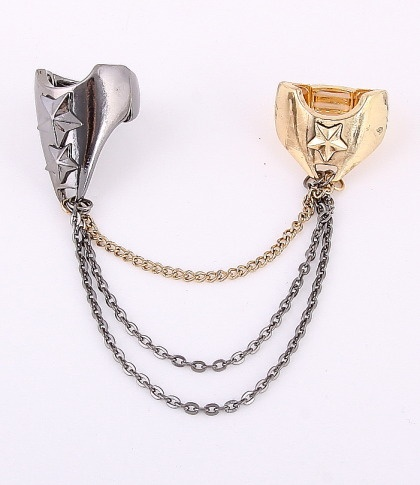 """Two Rings / surface: 1.25""""H, 0.8""""H / color: gold & hematite / lead compliant      $12.75"""