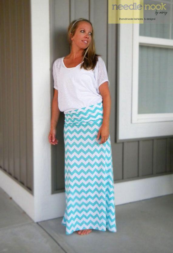 The Chevron Maxi Skirt  Women's Maxi Skirt  by needlenookbymarcy