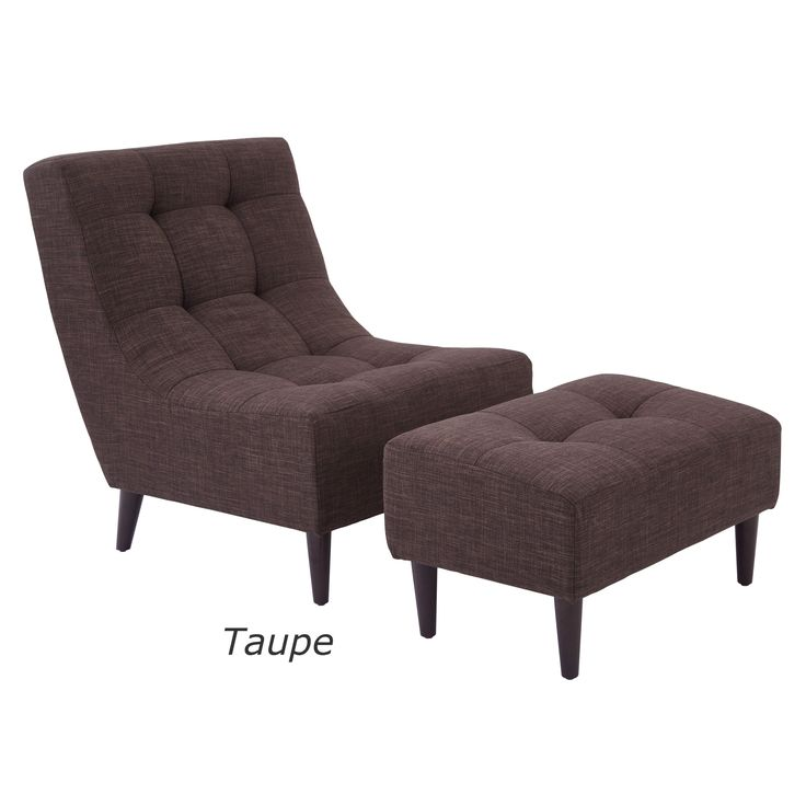 Office Star Products Hudson Mid-Century Chair and Ottoman Set with Espresso Legs