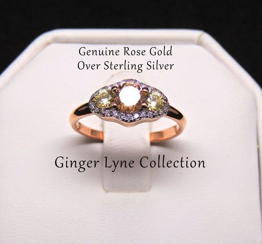 Sondra, Beautiful Champagne Engagement Ring Rose Gold Over 925 Sterling Silver Ring