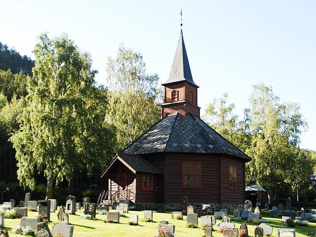 The Bøverdal church, built 1864, stands at Galdesand in Bøverdalen (south of Lom).