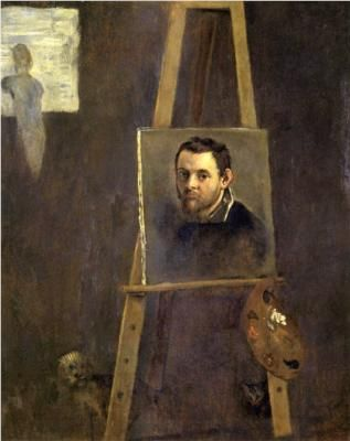 Annibale Carracci, Self-portrait on an Easel in a Workshop, Born: 03 November 1560; Bologna, Italy    Died: 15 July 1609; Rome, Italy    Field: painting, fresco, engraving    Nationality: Italian    Art Movement: Baroque    School or Group: Bolognese School