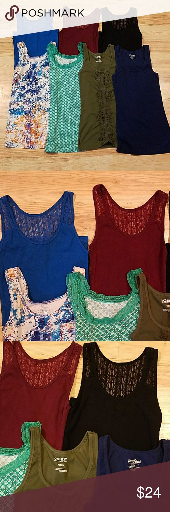 Lot of Tank Top Old Navy 7 women's tank tops all in great condition. The top 3 are Arizona Jean Brand all size Medium. Bottom row left to right, the first tank is Mossimo Brand size XS, the other 3 are all Old Navy the 2 green tanks are size XS and the last tank is size S. Old Nany, Arizona, Mossimo Tops Tank Tops