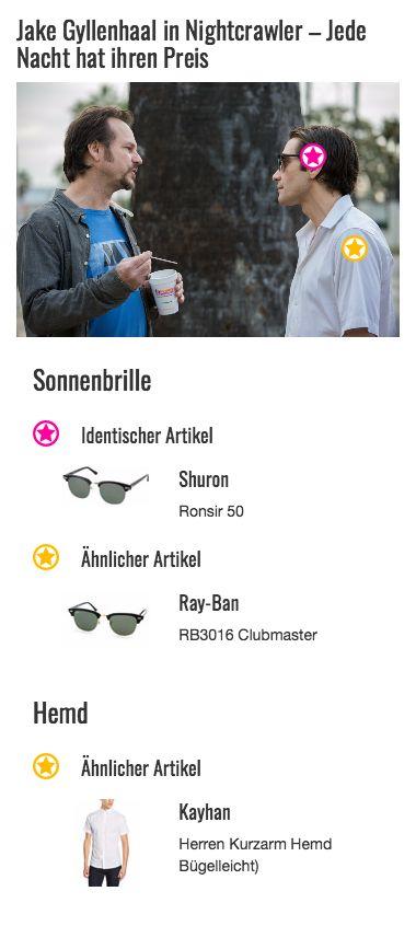 Bei der Sonnenbrille von Louis Bloom alias Jake Gyllenhaal handelt es sich um das scheinbar randlose Modell Ronsir 50 von Shuron. Der Retro-Style der Brille passt perfekt zu dem schlichten, teilweise altmodisch wirkenden Outfit des Jung-Journalisten.