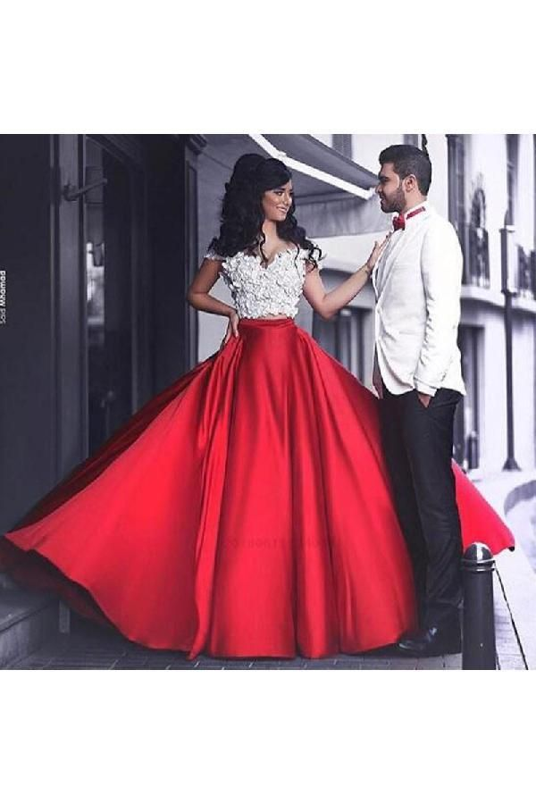b504ce2ebf3 Elegant Red A-Line Off-the-Shoulder Sleeveless Long Prom Dress with ...