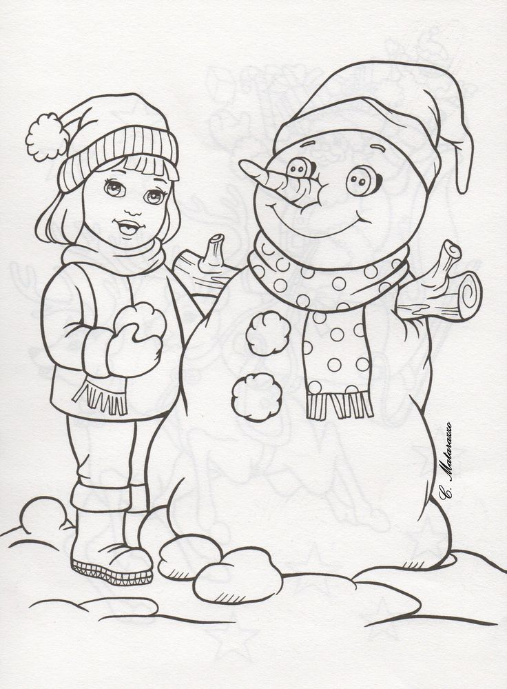 christmas girl snowman coloring pages - photo#21
