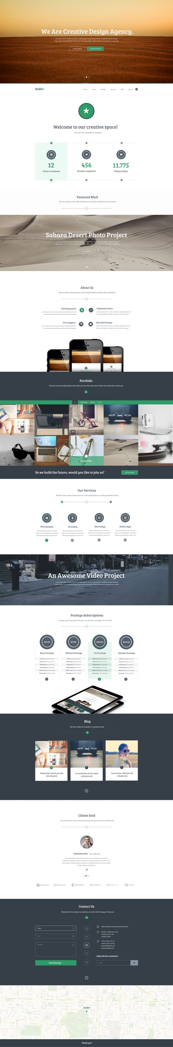 Bobo - One Page Creative Portfolio PSD Template