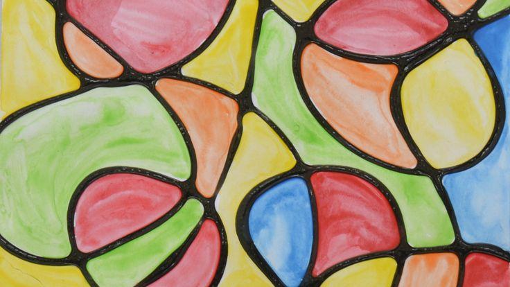 Arte procesual para niños: ACUARELA CON SILICÓN LÍQUIDO NEGRO