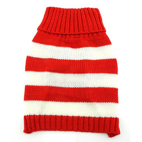 SMALLLEE_LUCKY_STORE Pet Cat Small Dog Sweater Striped, White and Red, Medium * Read more details by clicking on the image.