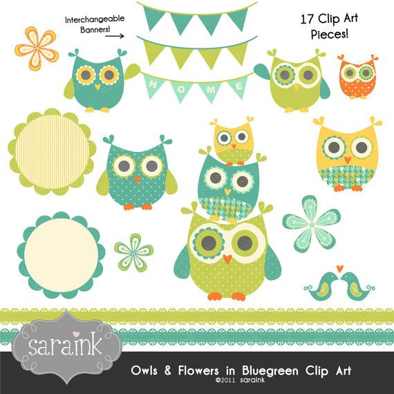 Owls and Flowers Clip Art Download in Blue Greens - Personal and Commercial Use Digital clipart. $5.00, via Etsy.