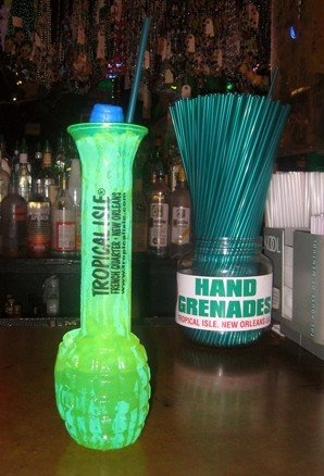 "One of New Orleans' proud traditions: Tropical Isle on Bourbon Street debuted this drink at the 1984 Louisiana World Exposition. The Hand Grenade has been called ""the strongest drink on Bourbon Street,"" and one drink is the equivalent of four and a half servings of a regular alcoholic beverage.     ¼ oz. Midori melon liqueur   ¼ oz. Absolut vodka   ¼ oz. Malibu coconut rum   ¼ oz. Bacardi 151 rum   dash of pineapple juice     Build, shake, strain."