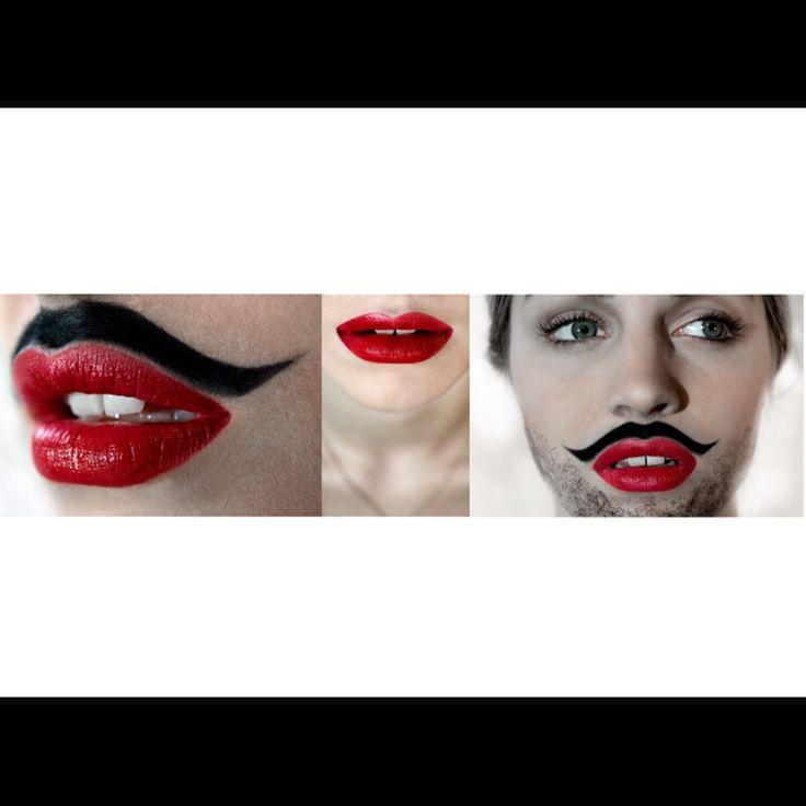 Makeup! Red lipstick and beard