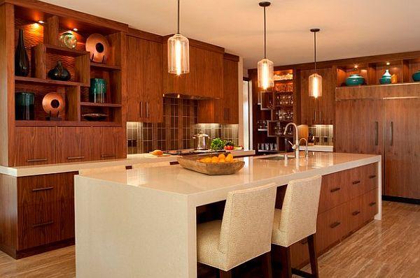 Küche holz schränke kochinsel spüle corian arbeitsplatte