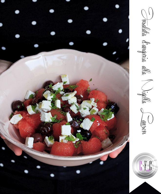 Insalata di anguria, da una ricetta di Nigella Lawson. Ecco la mia versione di questa insalata fresca, saporita, colorata che inneggia all'estate. www.creazionifusionorconfusion.it