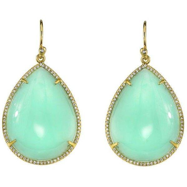 Irene Neuwirth Mint Chrysoprase Teardrop Earrings With Pave Diamonds