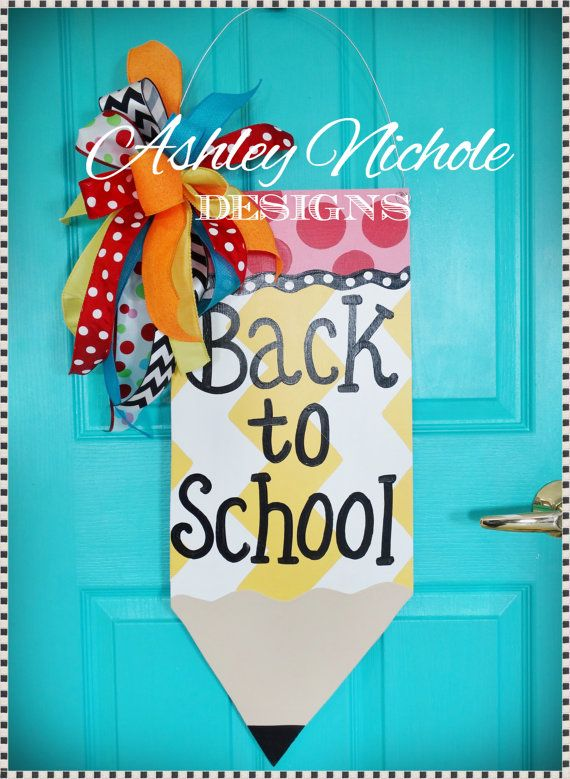 Pencil door hanger back to school decor wooden pencil for Back to school decoration ideas