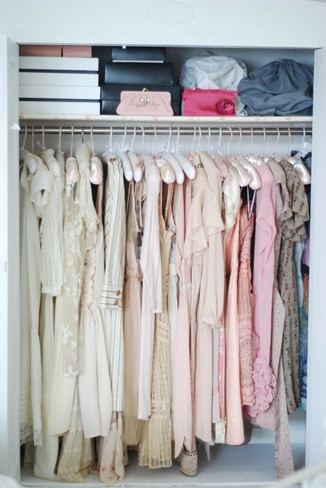 Feminine, Color Coded and Organized Closet.