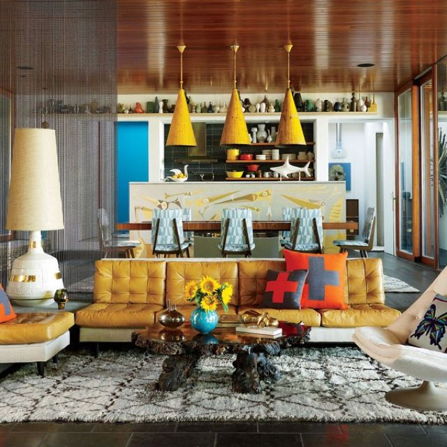 Simon Doonan and Jonathan Adler in Shelter Island  First 70's inspired decor I've seen that I actually like!