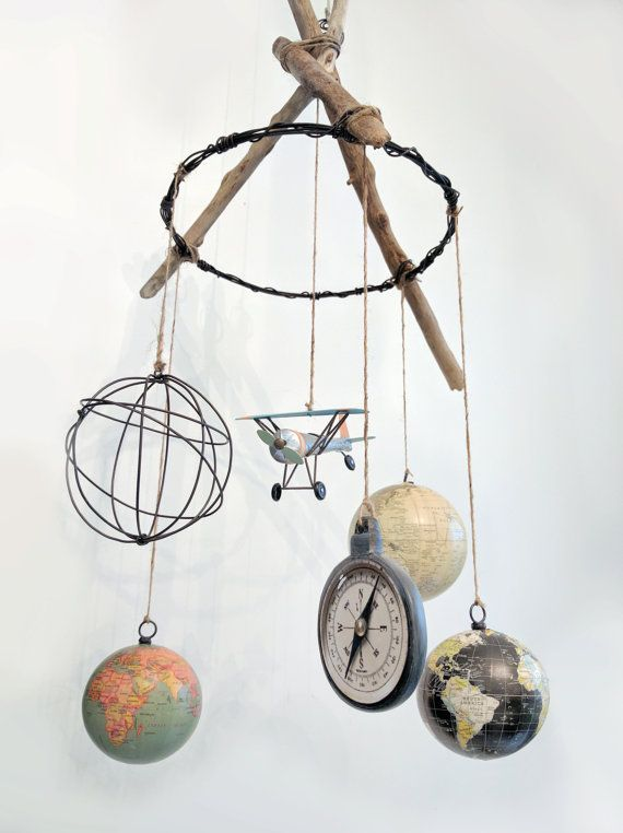 Vintage Airplane And Globe Mobile Travel Themed Nursery Vintage Girl Nursery Vintage Airplane Nursery Vintage Baby Nursery