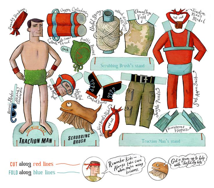 Traction Man - one of the more entertaining boys paper dolls I have seen- free printable.