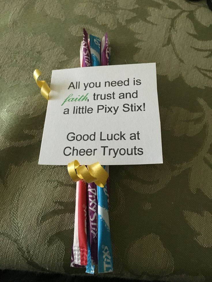 Good Luck Cheer tryouts. Pixy Stix.