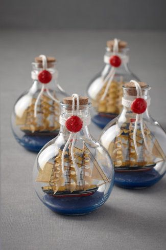 Ship in a bottle, four for 22$ would make a great party favor for a pirate themed party.